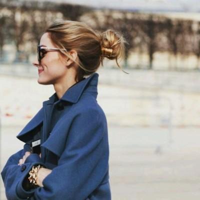 m2508b-l-610x610-hair+accessory-tumblr-coat-blue+coat-bracelets-sunglasses-bun-olivia+palermo