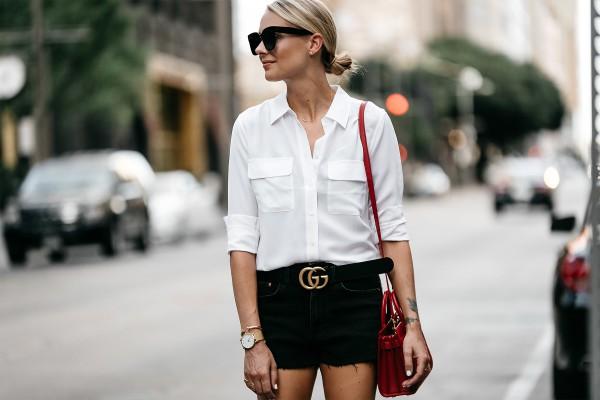 Fashion-Jackson-Equipment-White-Button-Down-Shirt-Black-Denim-Shorts-Gucci-Marmont-Belt-3