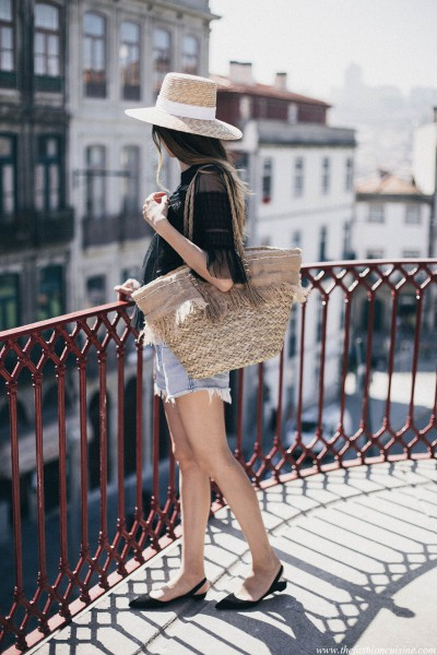 Perfect-summer-vacation-look-black-lace-top-straw-hat-beach-bag-levis-501-shorts-paul-andrew-pointed-flats-slingbacks-outfit