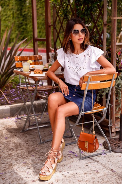 1.-denim-skirt-with-peasant-blouse-and-platform-sandals